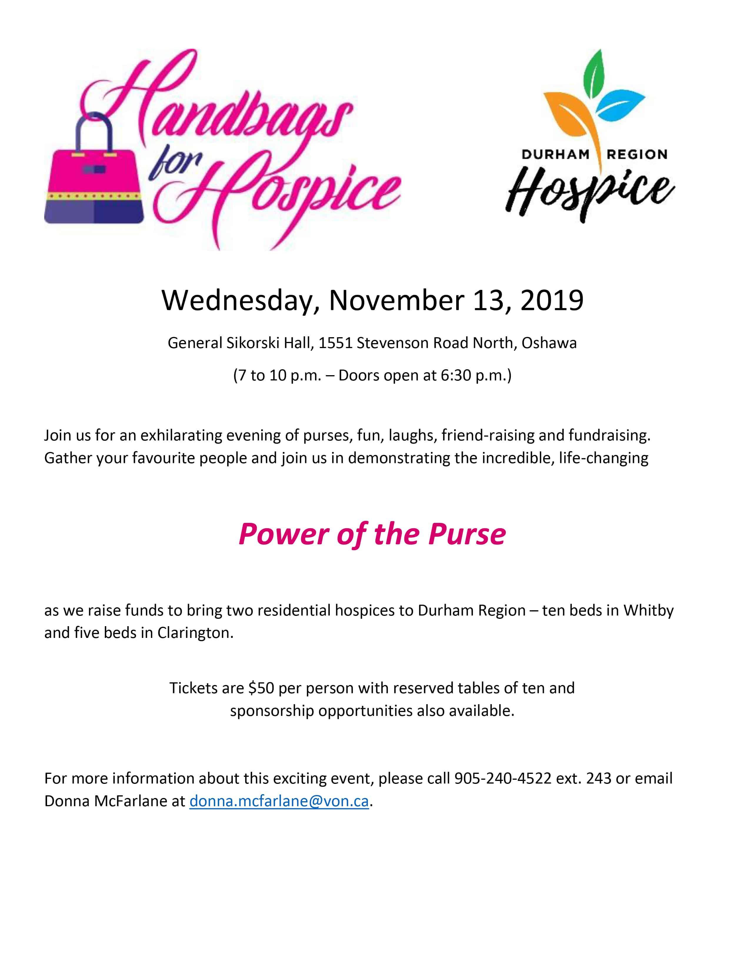 Handbags for Hospice – Wednesday, November 13, 2019